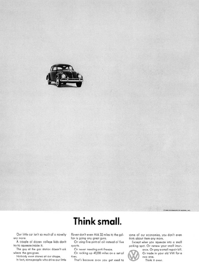 VW's 1959 Think small. campaign