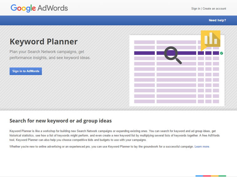 keyword planner sign in