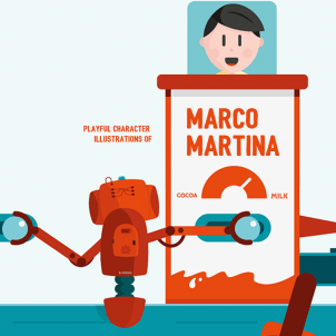 Playful character illustrations of Marco Martina
