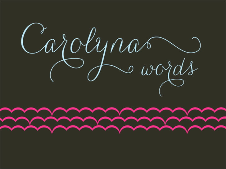 3 free handwritten font carolyna words