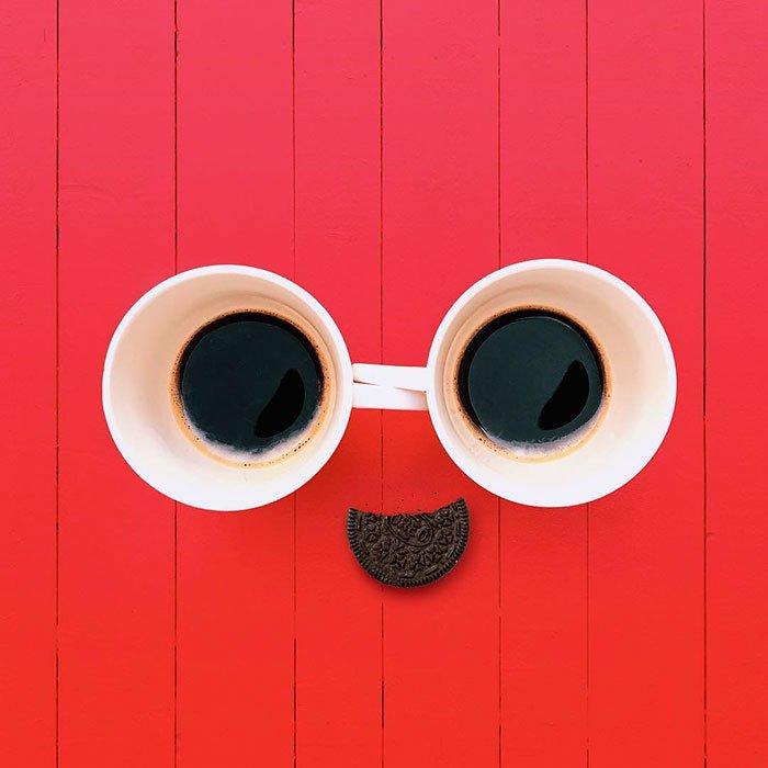 Consumerism culture mocked by Tony Futura coffee and oreos make you happy