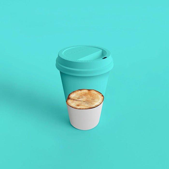 Consumerism culture mocked by Tony Futura fake environment care coffee