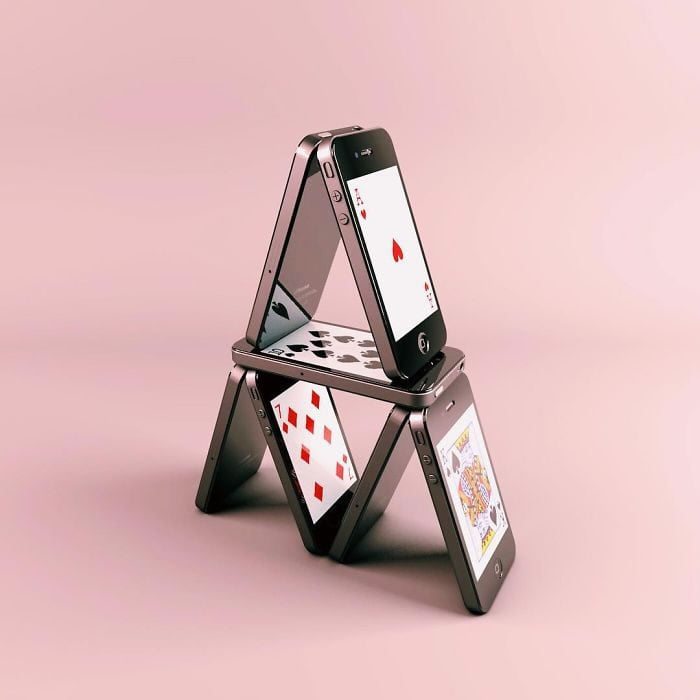 Consumerism culture mocked by Tony Futura iphone playing cards