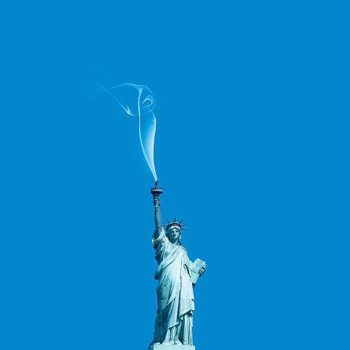 Consumerism culture mocked by Tony Futura smoke of liberty