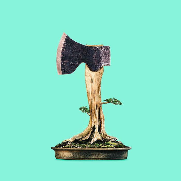 Consumerism culture mocked by Tony Futura tree cutting