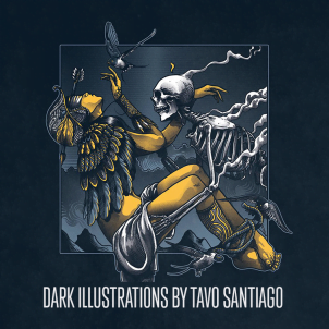 Dark ilustrations by Mexican designer Tavo Santiago