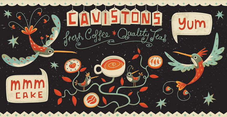 steve simpson illustrated packaging coffee cup cavistons 2