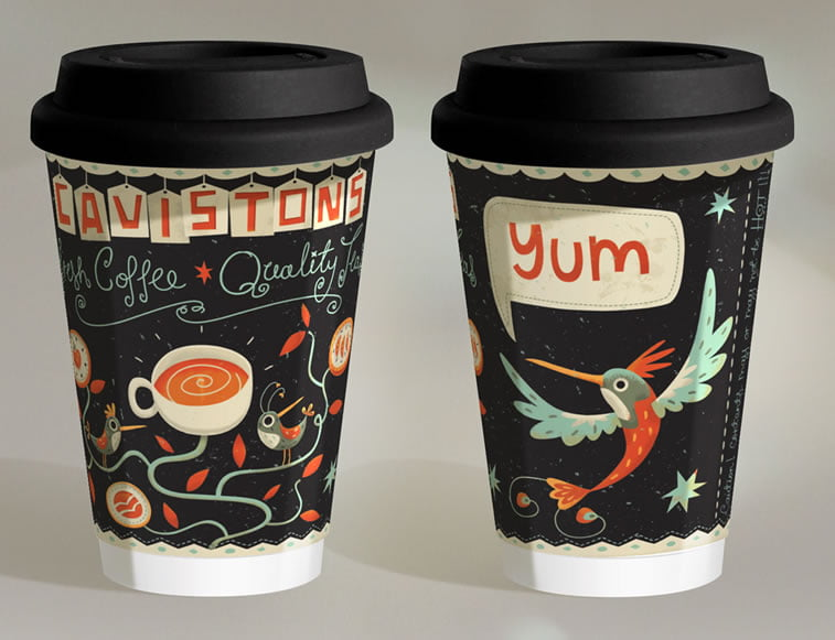 steve simpson illustrated packaging coffee cup cavistons 3
