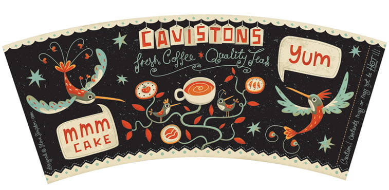steve simpson illustrated packaging coffee cup cavistons 4
