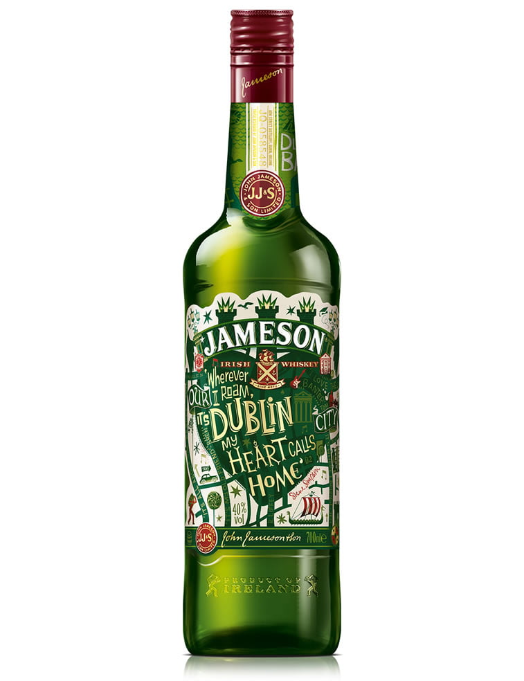 steve simpson illustrated packaging jameson whiskey bottle 2