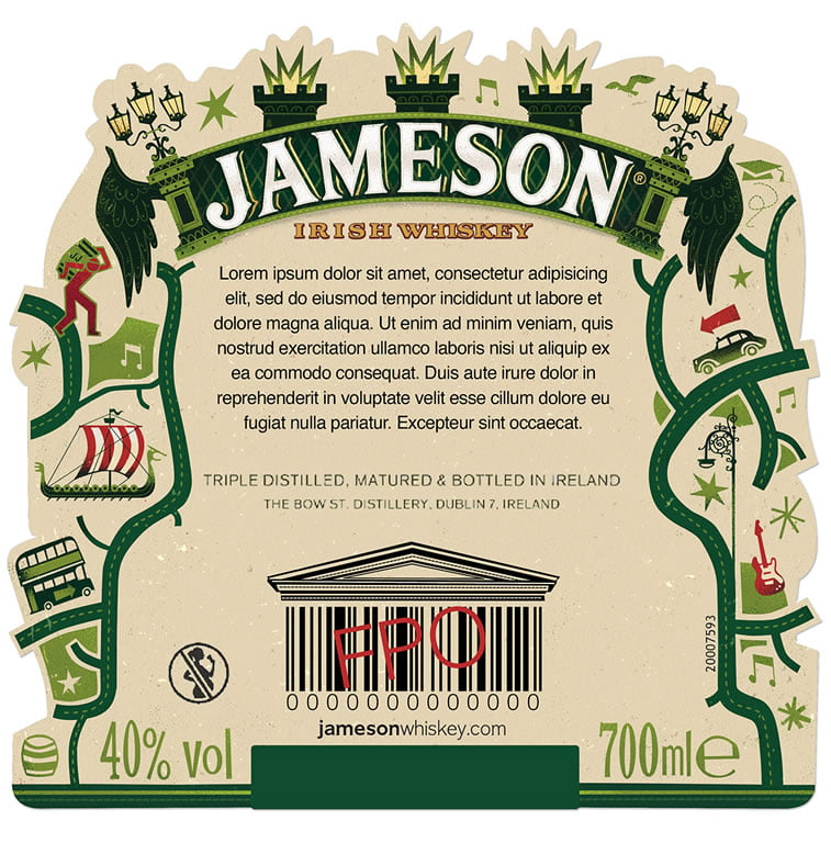 steve simpson illustrated packaging jameson whiskey bottle 4