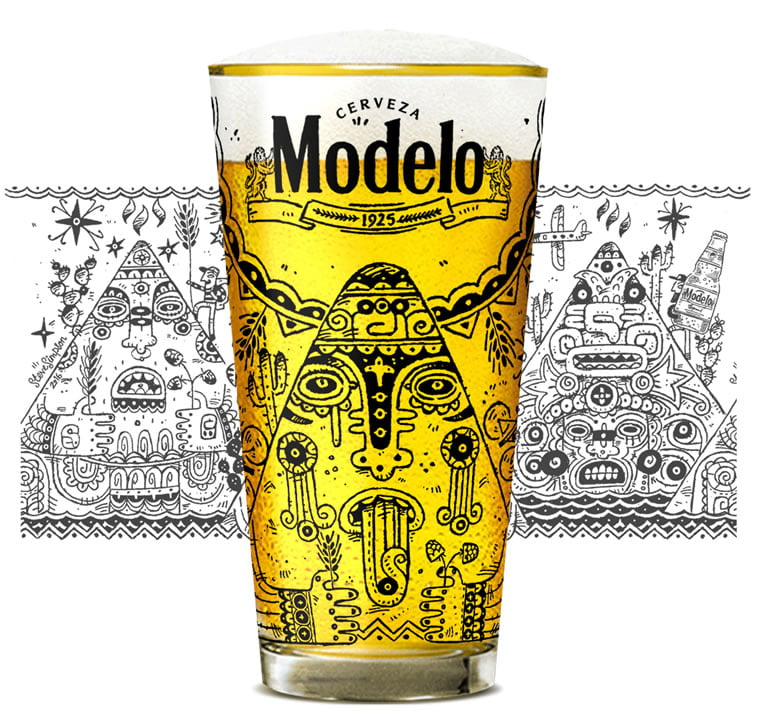 steve simpson illustrated packaging modelo beer glass 1