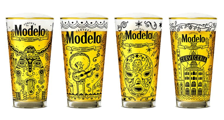 steve simpson illustrated packaging modelo beer glass 2