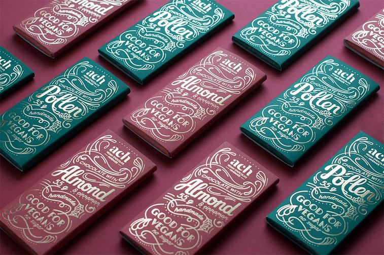 chocolate packaging design ach vegan