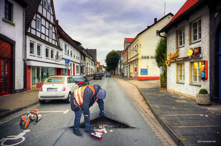 photo manipulation bildakrobat street-cleaning