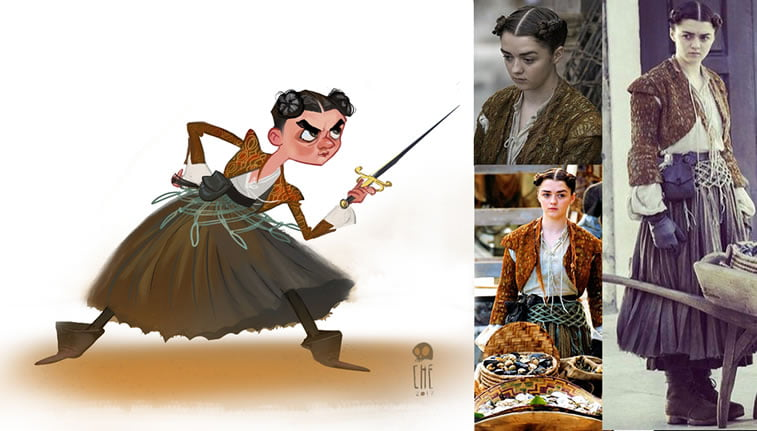 game of thrones caricature tata che arya stark
