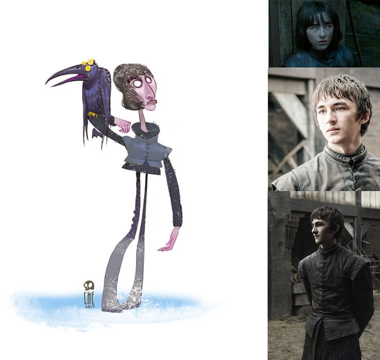 game of thrones caricature tata che bran stark