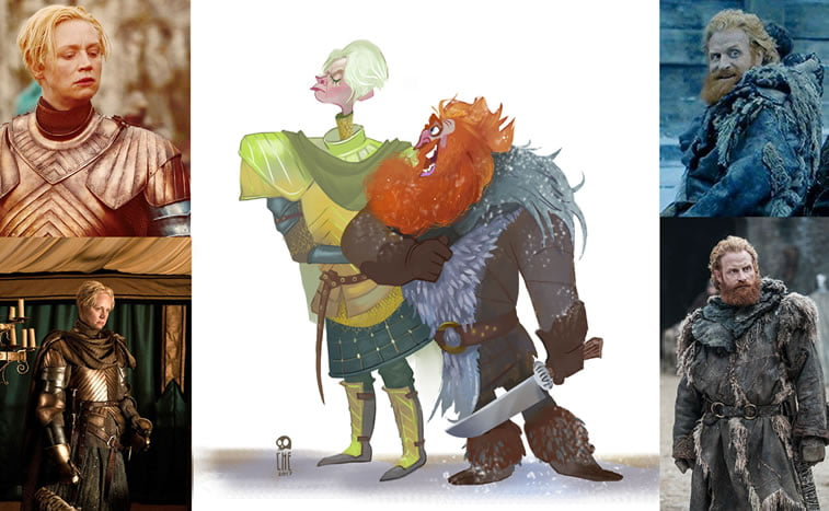 game of thrones caricature tata che brienne tormund