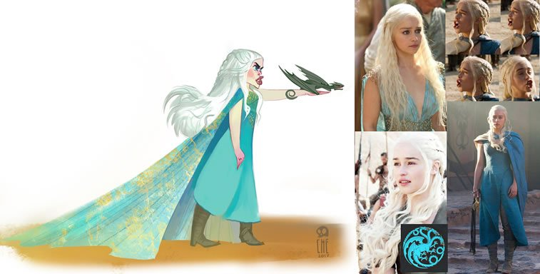game of thrones caricature tata che daenerys targaryen