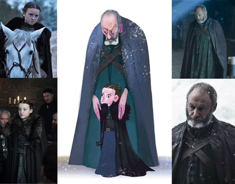 game of thrones caricature tata che davos lyanna mormont