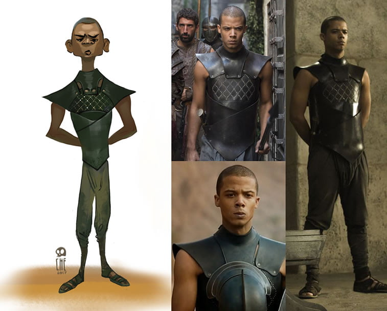 game of thrones caricature tata che grey worm