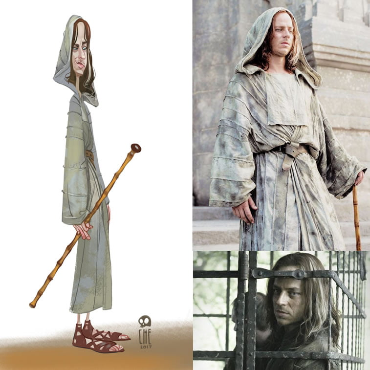 game of thrones caricature tata che jaqen hgar