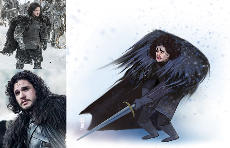 game of thrones caricature tata che jon snow
