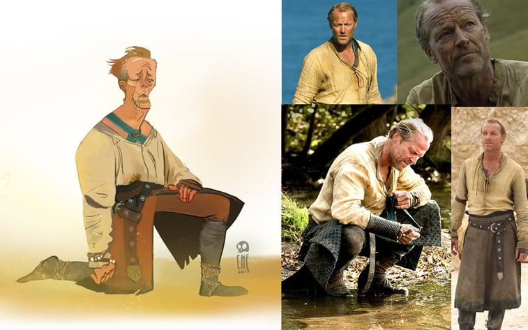 game of thrones caricature tata che jorah mormont