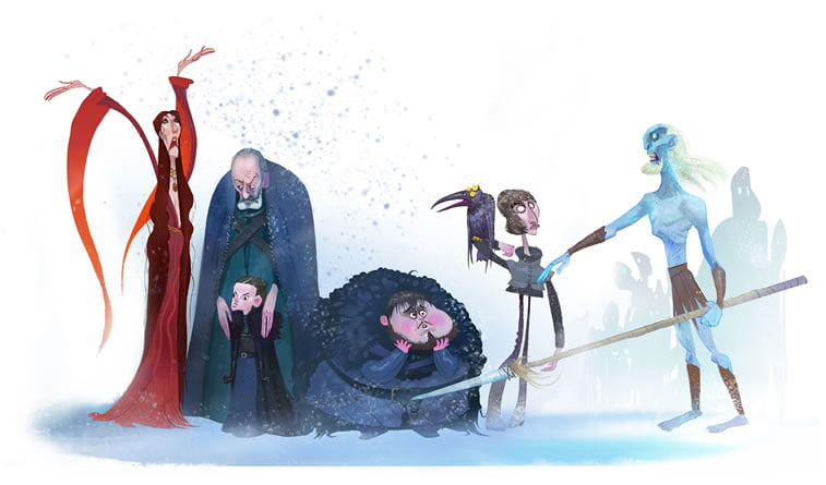 game of thrones caricature tata che melissandre white walker samwell tarly davos