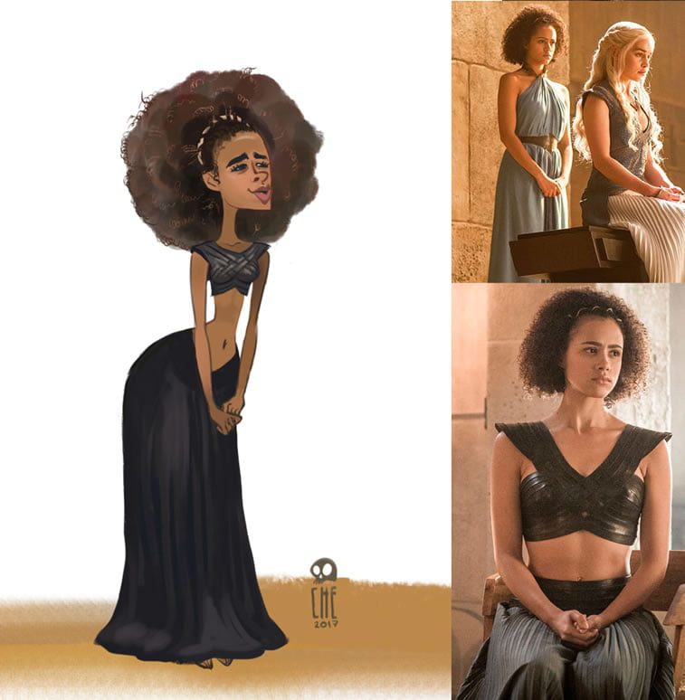 game of thrones caricature tata che missandei the interpreter