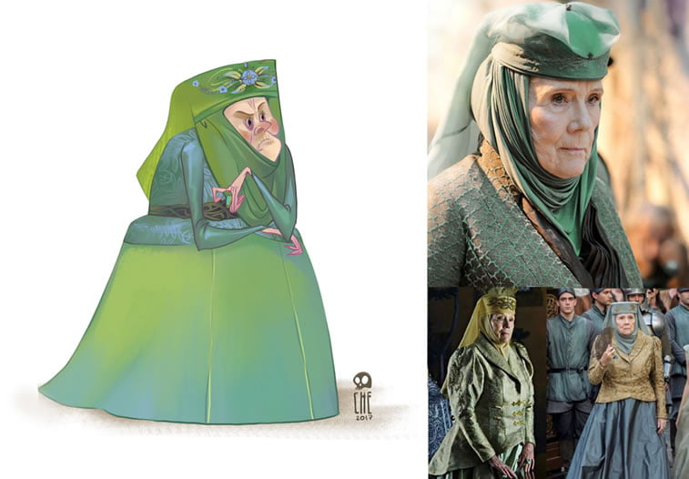 game of thrones caricature tata che olenna tyrell