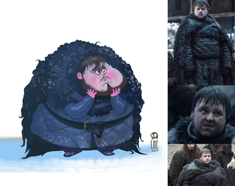 game of thrones caricature tata che samwell tarly