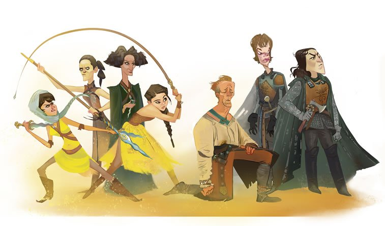 game of thrones caricature tata che sand snakes jorah greyjoys