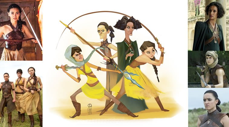 game of thrones caricature tata che sand snakes