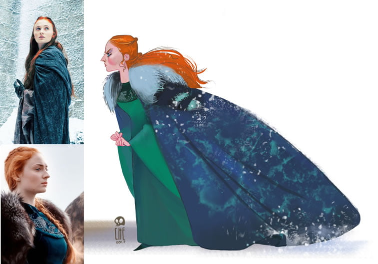 game of thrones caricature tata che sansa stark