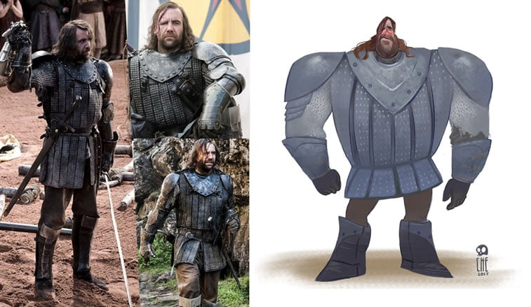 game of thrones caricature tata che the hound sandor clegane