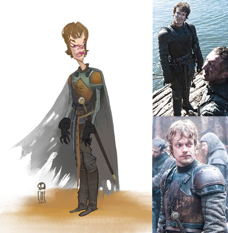game of thrones caricature tata che theon greyjoy