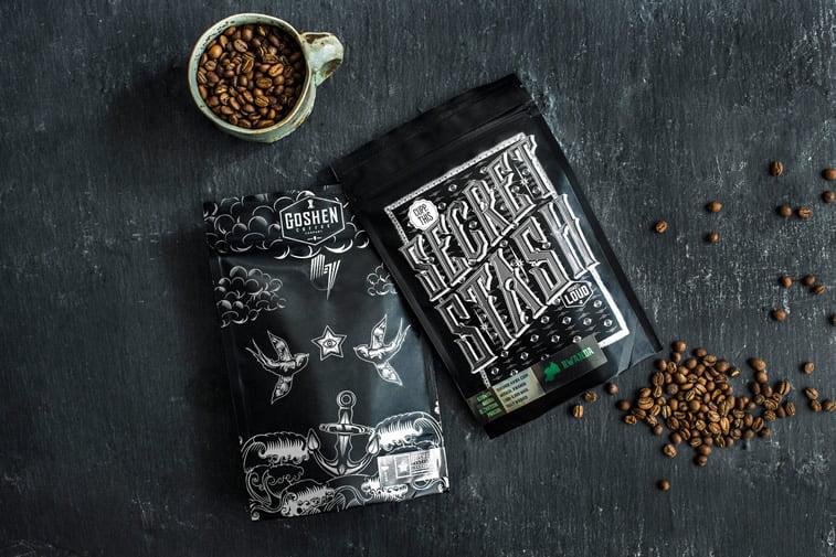 Dizajn ambalaže za kafu: 20 inspirativnih primera – Goshen coffee company's secret stash