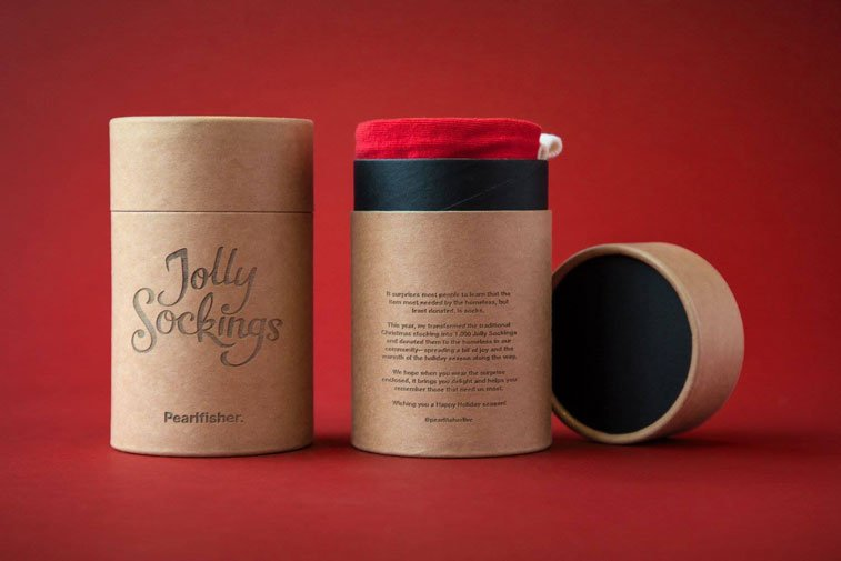 Jolly Socking campaign homeless for Christmas packaging design 1