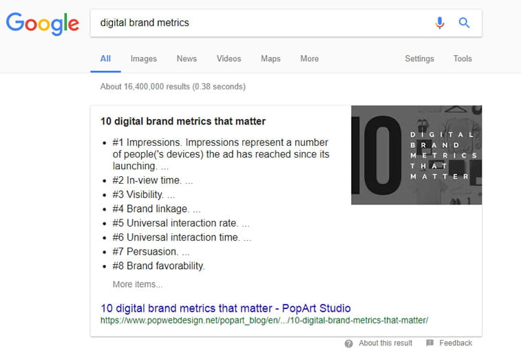 digital brand metrics featured snippet