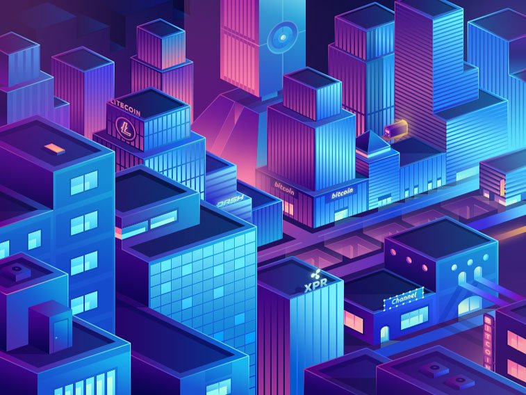 Crypto CIty ultra violet Walid Beno Dribbble