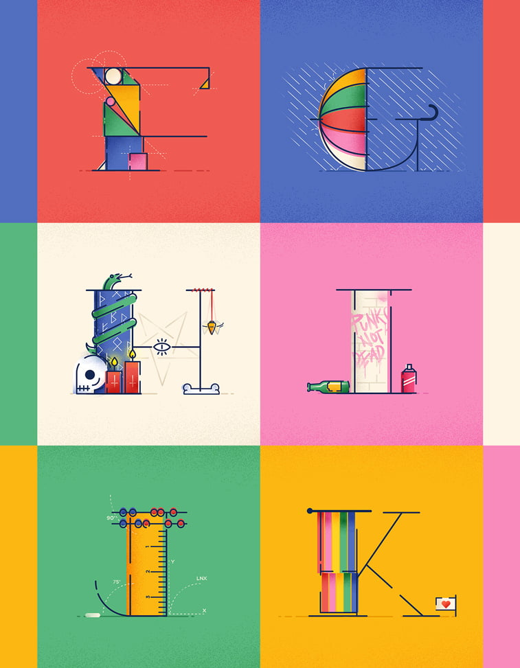 Typography 2 Justina Stazik ilustracije