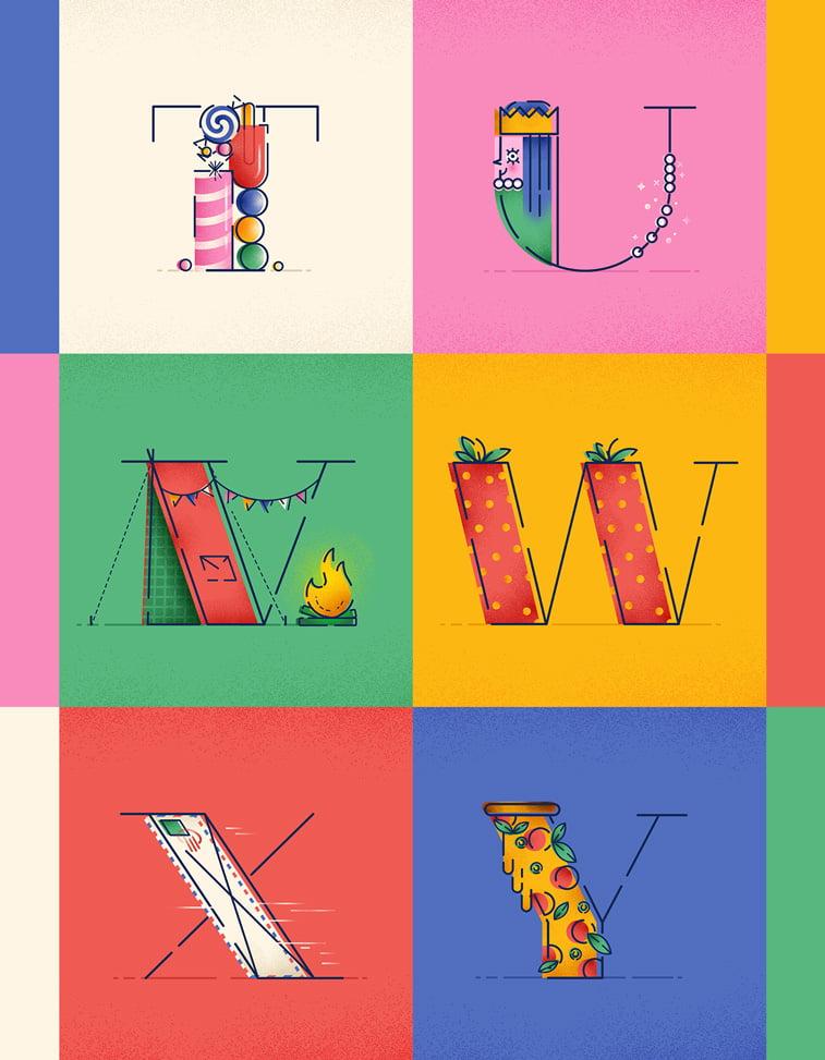 Typography Justina Stazik ilustracije