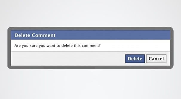 deleting a comment on Facebook