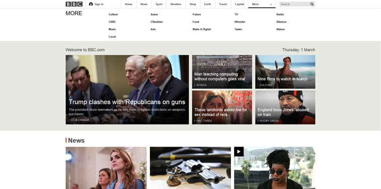 BBC homepage screenshot
