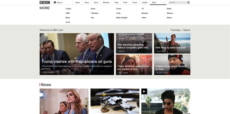 BBC homepage screenshot