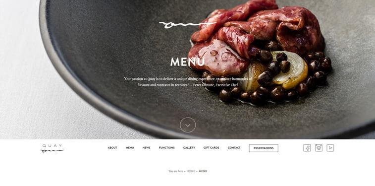 Quay meni kreativni sajtovi restorana