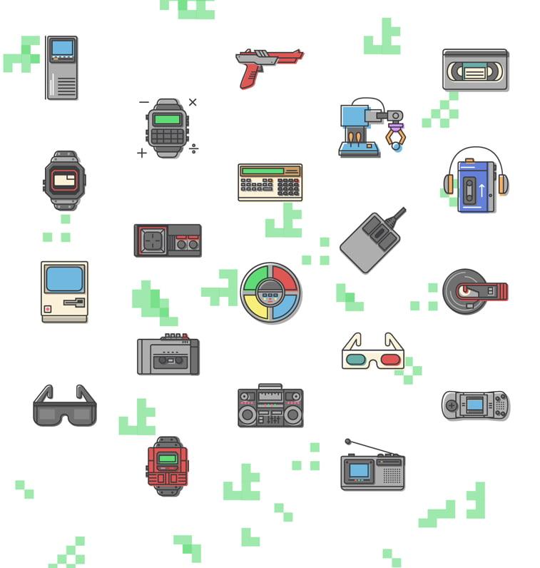Retro ikonice u stilu 1980-ih / Izvor slike: Behance