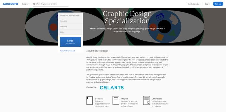 Coursera specijalizacija za graficki dizajn