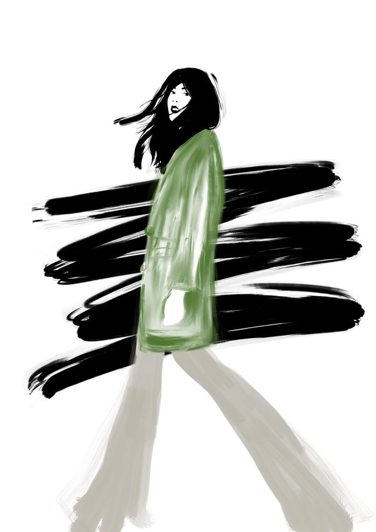 Rocio Vigne black green coat modna ilustracija
